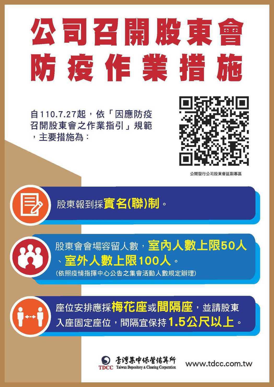 公司召開股東會防疫作業措施(集保結算所提供)