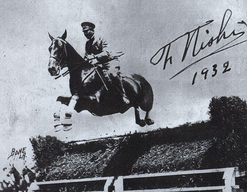 1932年洛杉磯奧運上的西竹一男爵。圖/引自網路