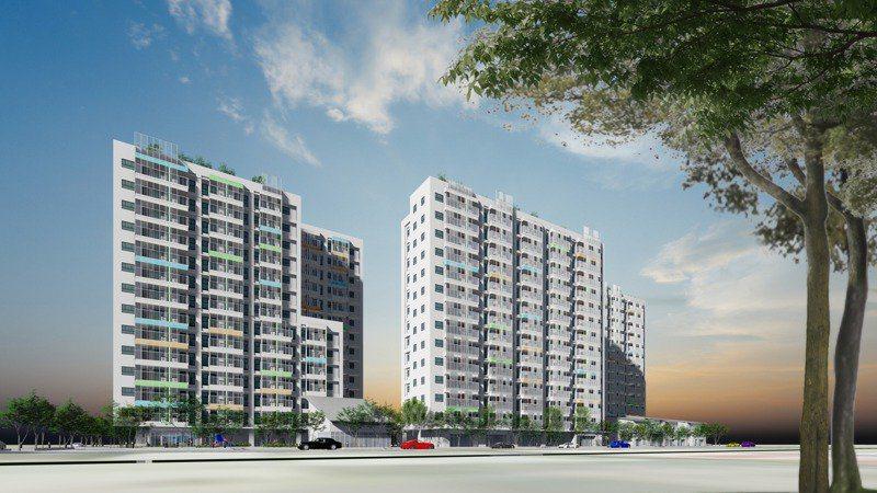 台南市東區新都心社會住宅建築及景觀模擬圖。圖/南市都發局提供