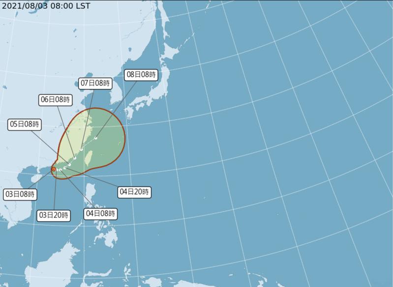 氣象局今表示,位在廣東海面的低氣壓已經在今天早上8點增強為熱帶性低氣壓,預估今、明兩天有可能發展成輕度颱風「盧碧」,周四至周六是影響台灣最劇烈的時間。圖/氣象局提供