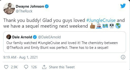 巨石強森在推特上證實「叢林奇航」續集正在洽談中。圖/摘自推特