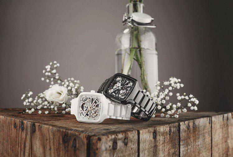 雷達(RADO)的True Square系列方形鏤空自動腕表,因高科技精密陶瓷帶...