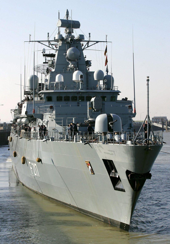 德國護衛艦「巴伐利亞號」2日從德國北海威廉港啟程,將在長達7個月的海上部署期間造...