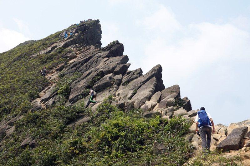 郊山之王劍龍稜,因稜線地貌與劍龍背脊相似而得名,這條路線險峻著稱,行走於岩石絕壁上。圖/聯合報系資料照片