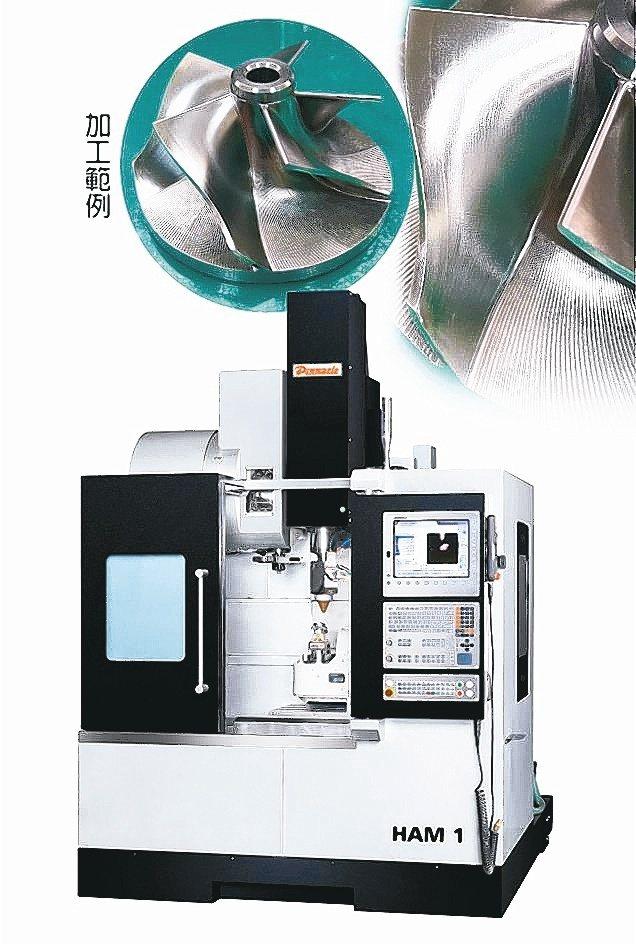 嵩富成功研發HAM1五軸雷射金屬積層混合加工機。嵩富機械/提供