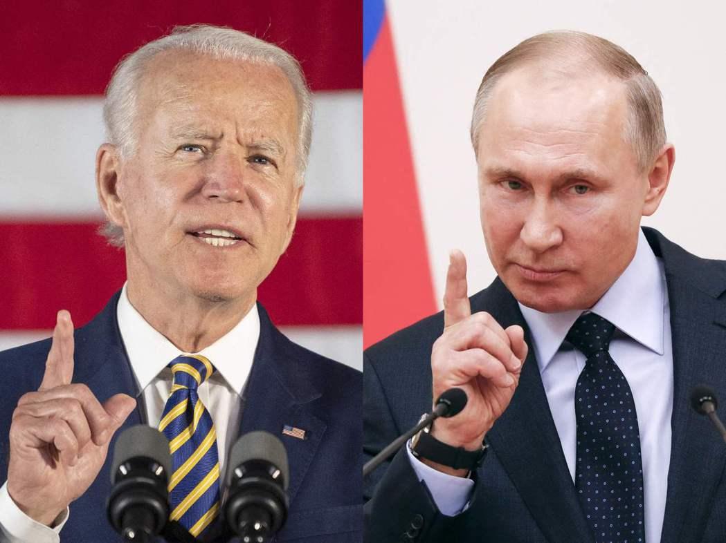 美國總統拜登(左)與俄國總統普亭(右)。(法新社)