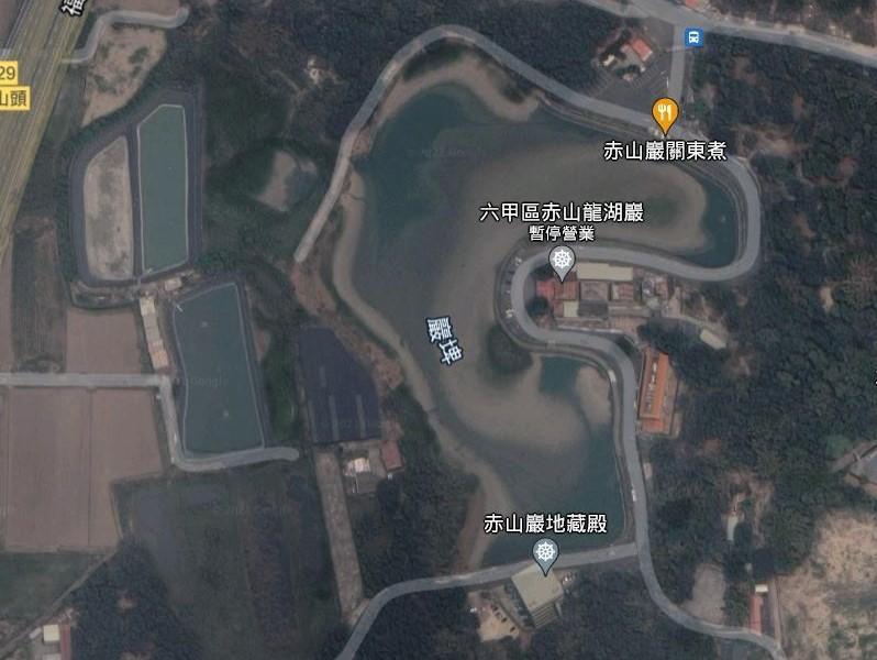 赤山龍湖巖與巖埤的地理分布(疫情期間所以暫停營業)。 圖/取自Google地圖