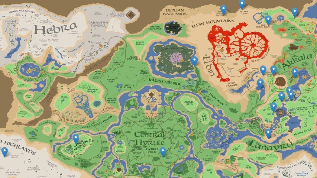 截取自《薩爾達傳說:曠野之息》Google 地圖網頁,下同。