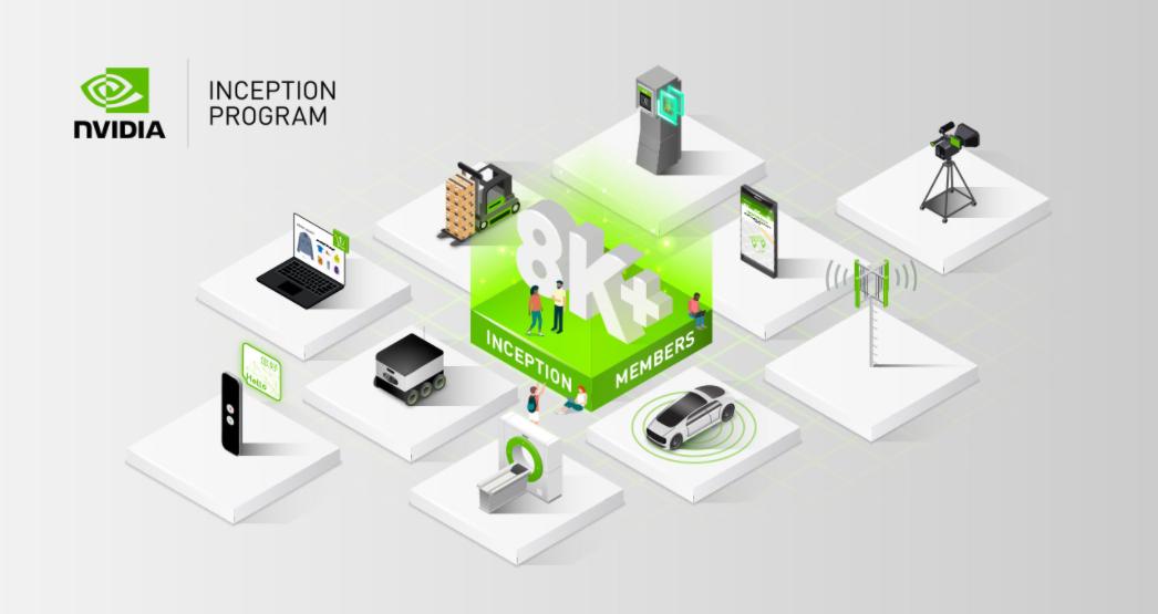 NVIDIA Inception 計畫已累積超過八千名成員。 NVIDIA /提...