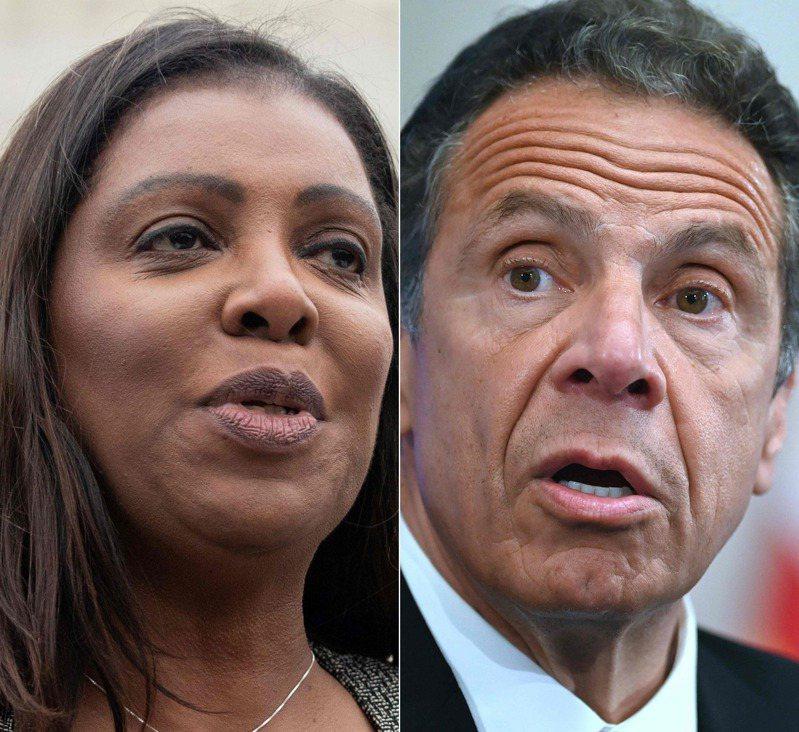 紐約州檢察長詹樂霞(左)調查州長古莫(右)的性騷擾醜聞。 法新社