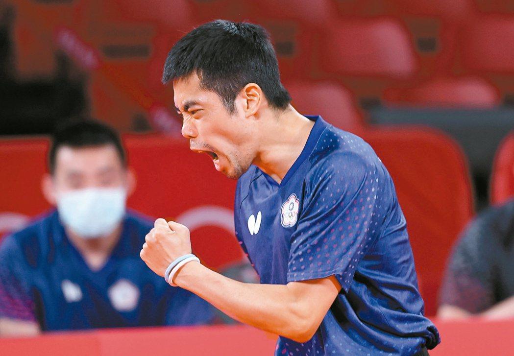 莊智淵昨在第五點單打未能取勝。特派記者余承翰/東京攝影