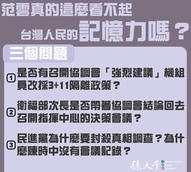 前立委孫大千質疑民進黨立委范雲未對3+11爭議交待清楚。圖/取自孫大千臉書