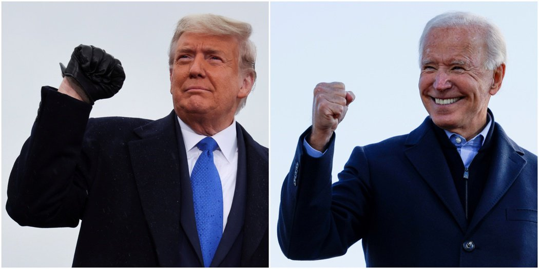 拜登(右)上任半年來的經濟主張,反倒與川普的政策更類似。圖/路透