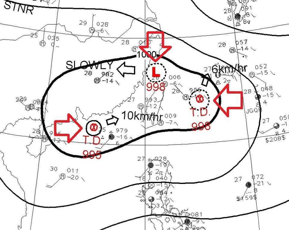 台灣正被三個小低壓環繞。圖/取自鄭明典臉書