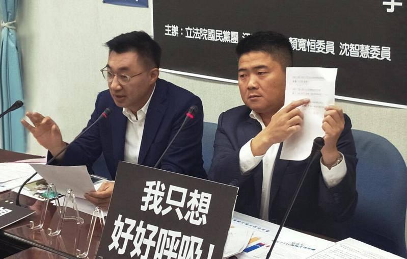 國民黨主席江啟臣與國民黨副秘書長顏寬恆。圖/取自顏寬恒臉書