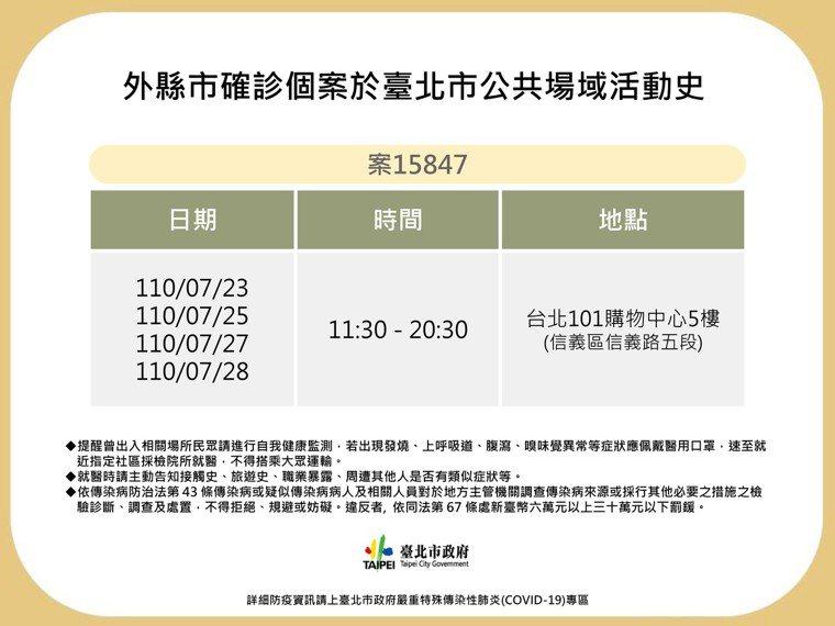 案15847為台北101購物中心5樓櫃位員工。圖/北市衛生局提供