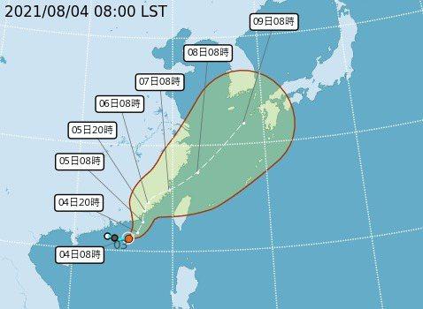 氣象局將於今14時30分發布第9號颱風海上颱風警報。圖/氣象局