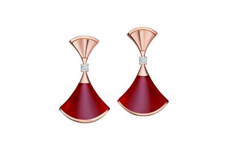 BVLGARI Divas' Dream系列玫瑰金紅玉髓與鑽石耳環,約82,40...