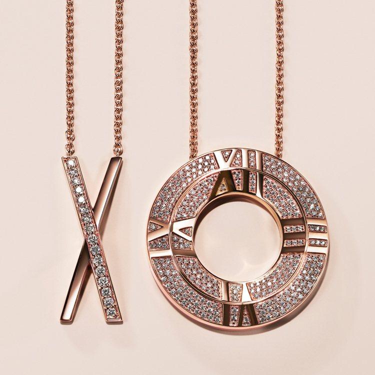 Tiffany Atlas X系列18K玫瑰金X形鑲鑽項鍊,12萬元;18K玫瑰...