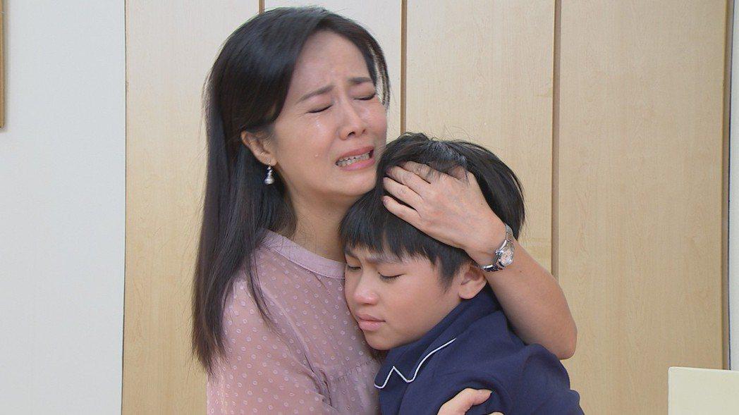 陳仙梅在「黃金歲月」中面對兒子生病心痛淚崩。圖/民視提供