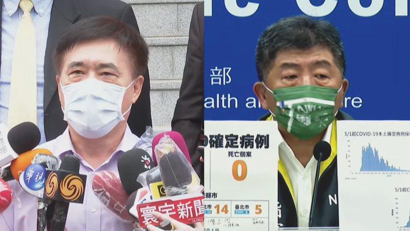 台北市前市長郝龍斌(左)呼籲不要打高端,衛福部長陳時中(右)回應,自己不打就不打,別人要打。