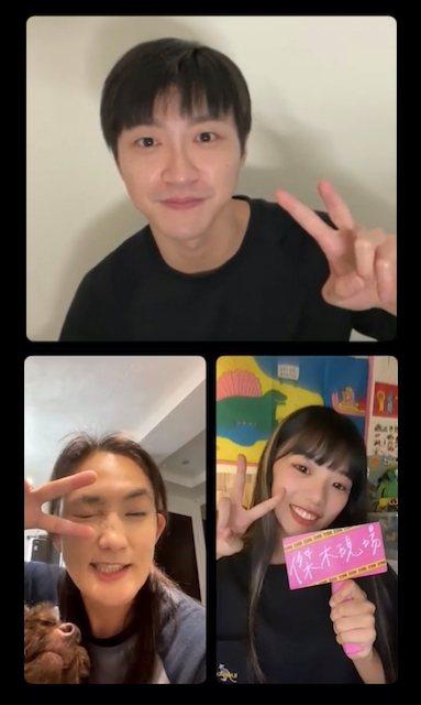 江宏傑(上)與師妹木木(右下)昨晚直播邀來「全明星」藍隊領隊錢薇娟同框互動。圖/