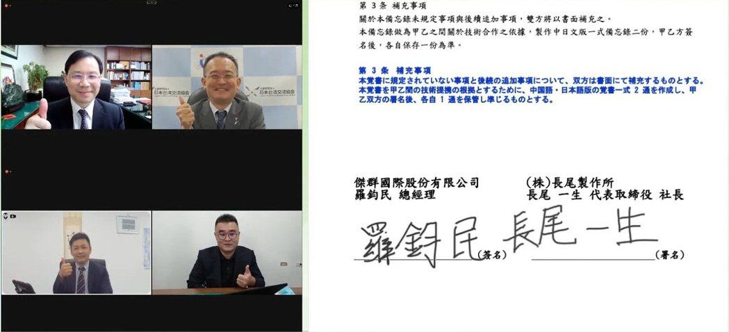經濟部次長林全能與日台交流協會副代表星野光明見證台日合作MOU簽署。 圖/經濟部...