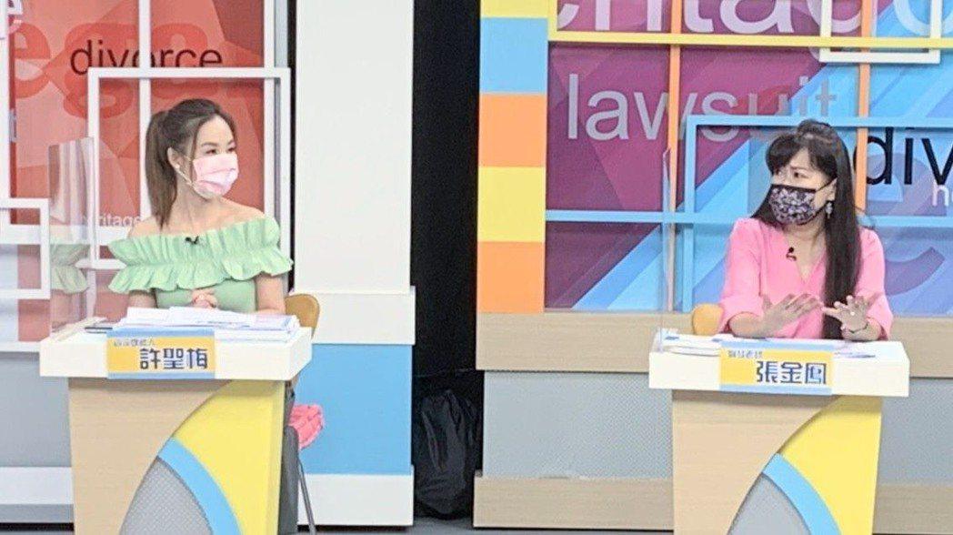 蕭大陸前女友張金鳳(右)在「震震有詞」節目掀證據,指控侯怡君電話騷擾。圖/和展提...