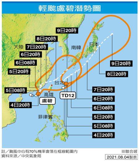 輕颱盧碧潛勢圖 資料來源/中央氣象局