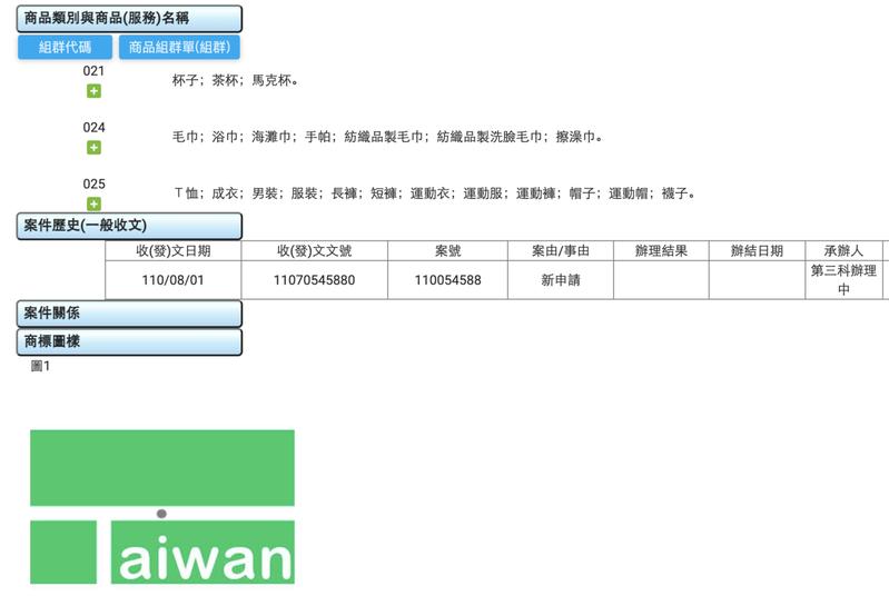 目前已有一件與麟洋配奪金決定性畫面相關之商標申請案件。翻攝自智慧局商標檢索系統