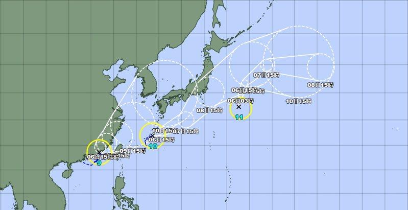 目前有三個颱風共舞。圖/取自日本氣象廳