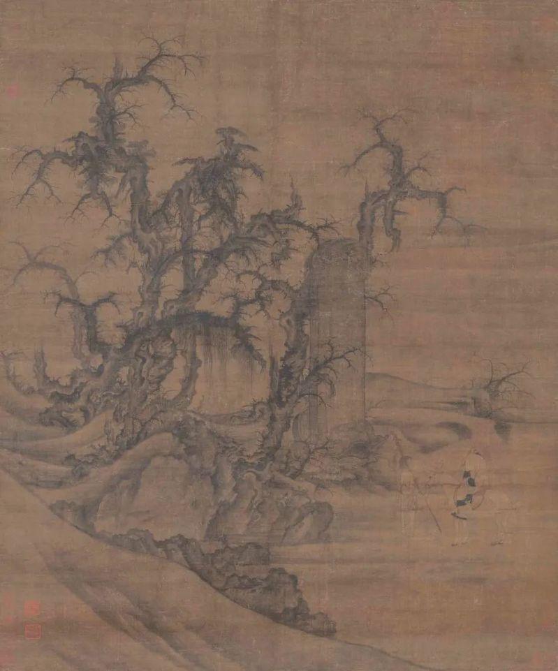 宋 李成・王曉 讀碑窠石圖 軸 大阪市立美術館藏