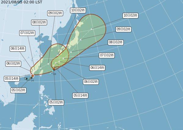 盧碧颱風為輕度颱風等級。圖/氣象局