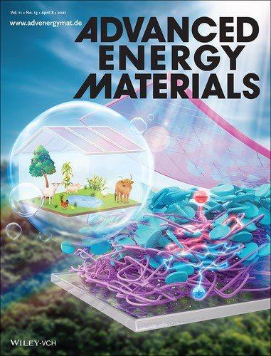 半透明有機太陽能電池元件p-i-n主動層截面分子結構示意圖(藍色圓盤與紫色線條分...