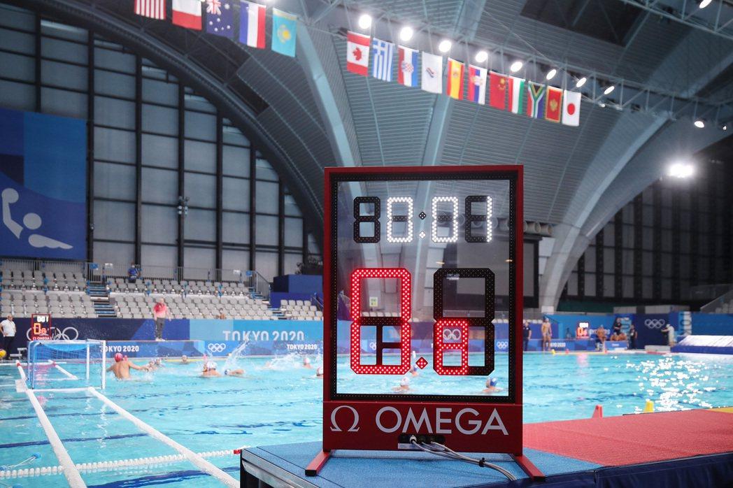 2020年東京奧運現場的水球(water polo)項目中,OMEGA提供類似三...