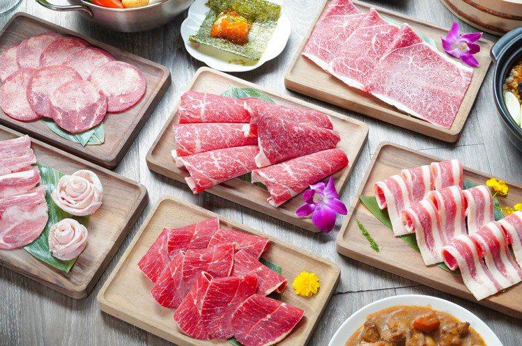 店內最多供應有12種肉品,均採無限供應。圖/涮樂和牛鍋物提供