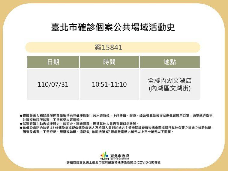 北市府今公布1例確診者足跡,7月31日曾到內湖區全聯福利中心。圖/北市衛生局提供