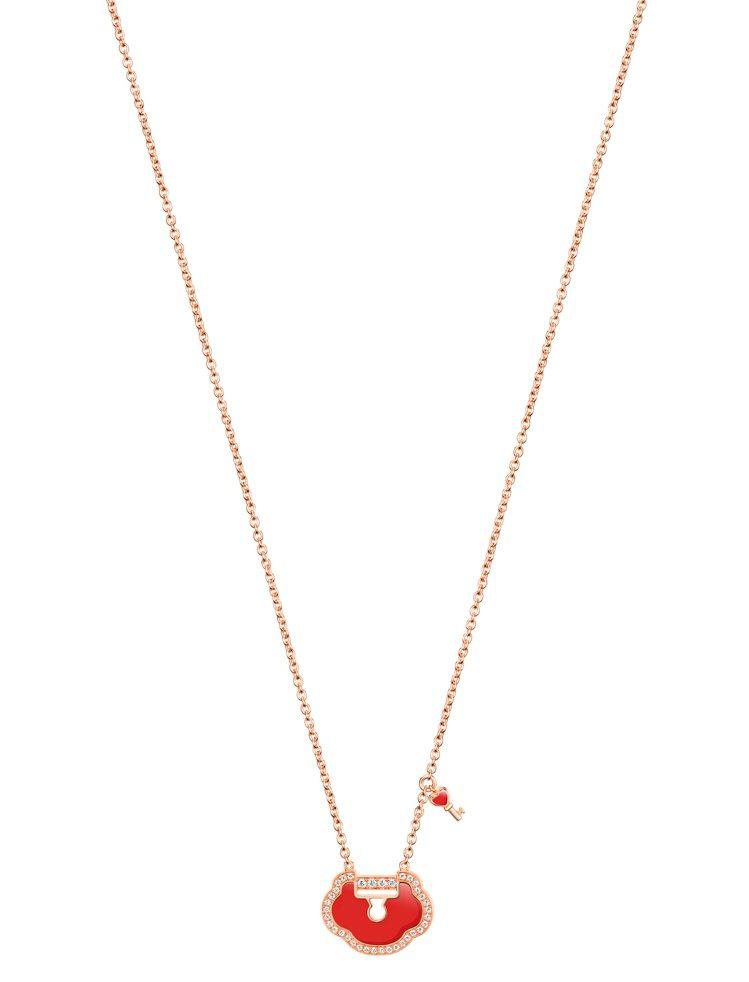 Qeelin,Petite Yu Yi 18K玫瑰金鑲鑽紅瑪瑙項鍊,價格店洽。圖...