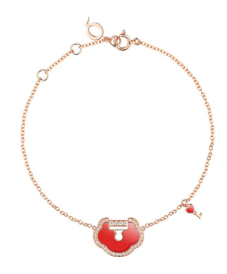 Qeelin,Petite Yu Yi 18K玫瑰金鑲鑽紅瑪瑙手環,價格店洽。圖...