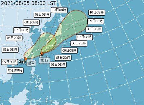 TD12稍早形成今年第10號颱風銀河。圖/氣象局