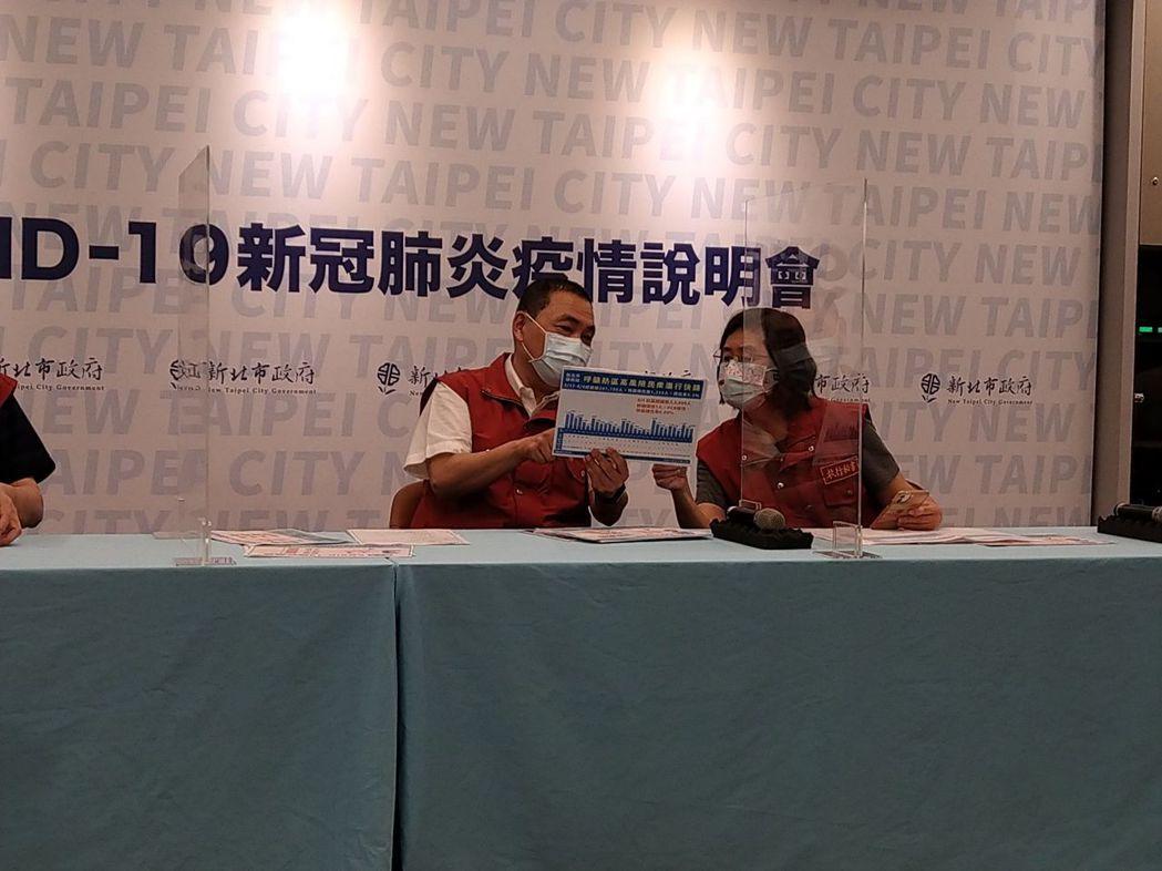 新北市長侯友宜(左)針對游泳池開放表示會在周日或周一宣布。記者張哲郢/攝影