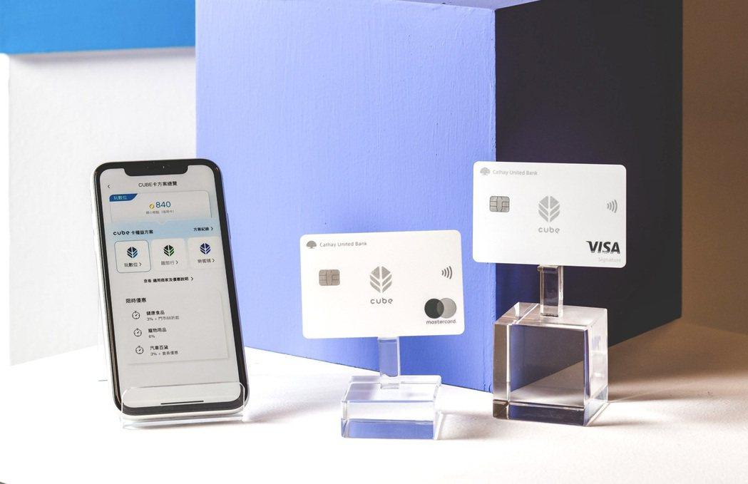 國泰世華銀行推出「CUBE卡」,透過網路銀行App就能自主切換三大權益方案,指定...