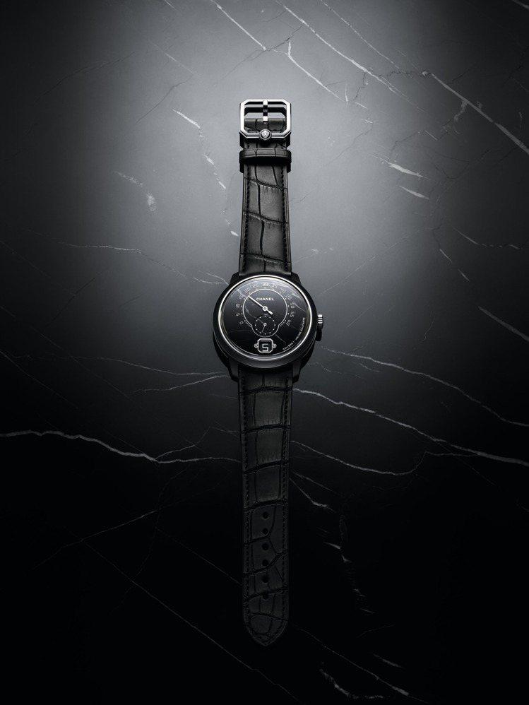 香奈兒MONSIEUR大理石腕表,42毫米黑色霧面高抗磨陶瓷搭配精鋼表殼、Cal...