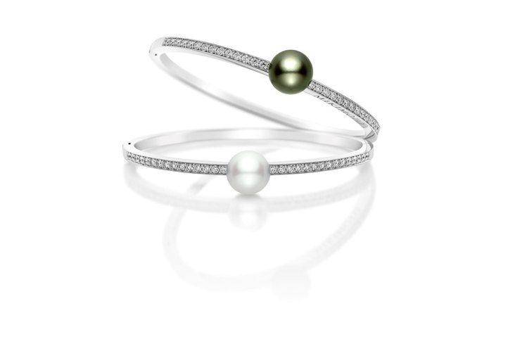 (由上至下)迪麗熱巴配戴款的MIKIMOTO黑珍珠鑽石手環小型款,27萬4,00...