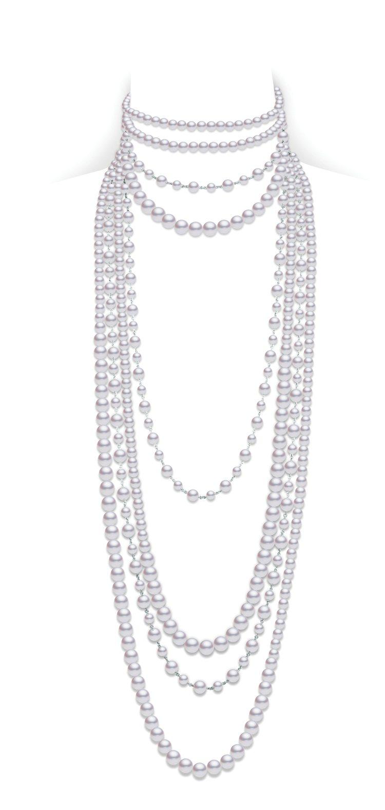 MIKIMOTO頂級珠寶系列多層次珍珠鑽石項鍊,價格店洽。圖/MIKIMOTO提...