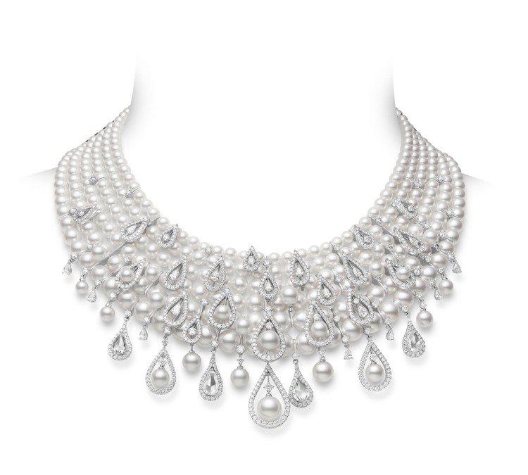 MIKIMOTO Moon Dew頂級珠寶系列珍珠鑽石項鍊,價格店洽。圖/MIK...