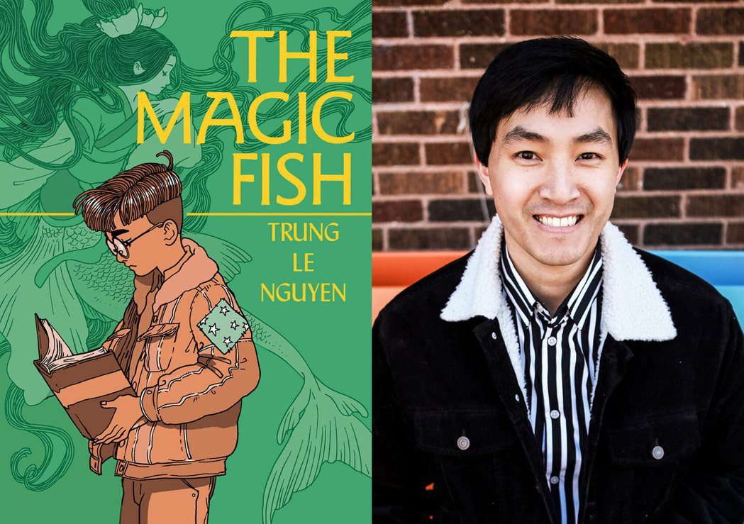 左為《魔法魚》書封,右為作者Trung Le Nguyen。 圖/取自作者網站