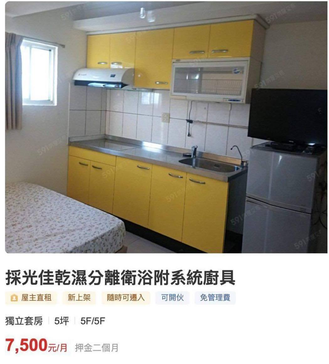 有網友分享租屋網站上的物件,只見出租的套房竟然是廚房所改造的。 圖/翻攝自「葩裝...