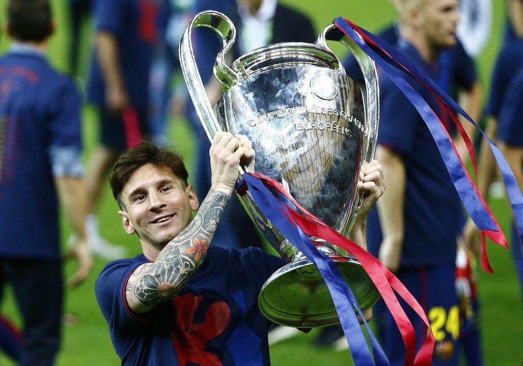 在2015年拿下歐冠冠軍的梅西。 圖/歐新社