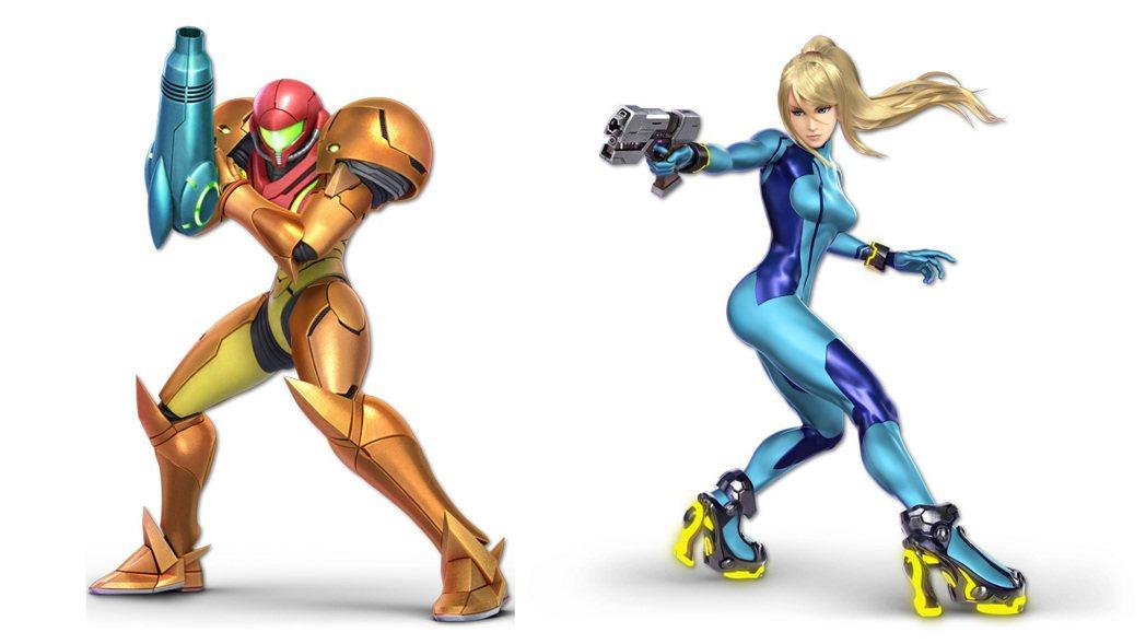 薩姆斯也是任天堂明星大亂鬥的常客,圖片右方的造型為「ZERO套裝」。
